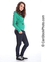 Cute smile from teenager school girl in hoodie