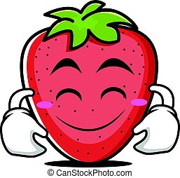 Cute smile strawberry cartoon character