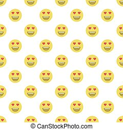 Cute smiley face, in love face seamless pattern background.