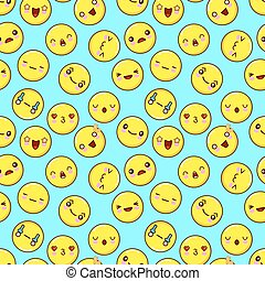 Cute smiley face seamless pattern background. emoticons emoji. Flat design Vector