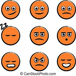 Cute smiley - Set of nine cute orange smiley faces for...