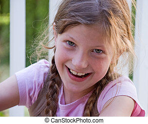 Cute Smiling 8 Year Old Girl - Closeup photo of a pretty 8...
