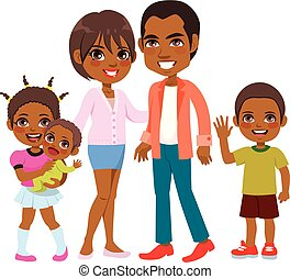 Cute Smiling African American Family