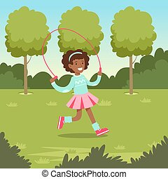 Cute smiling african girl jumping with skipping rope in the park, kids outdoor activity vector illustration