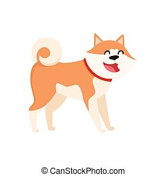 Cute smiling Akita Inu dog character, isolated cartoon vector illustration