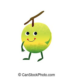 Cute Smiling Apple, Cheerful Funny Fruit Cartoon Character with Funny Face Vector Illustration