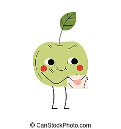 Cute Smiling Apple Holding Envelope, Cheerful Fruit Character with Funny Face Vector Illustration