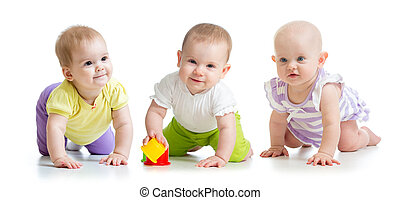 cute smiling babies weared clothes crawling isolated on white