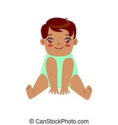 Cute smiling baby boy sitting. Colorful cartoon character vector Illustration