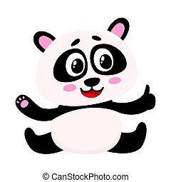 Cute smiling baby panda character sitting, showing thumb up