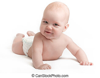 Cute smiling baby on white