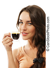 cute smiling beautiful woman with a cup of espresso coffee on white background
