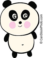 Cute smiling black and white panda vector illustration on white background