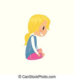 Cute smiling blonde girl sitting on the floor vector Illustration on a white background