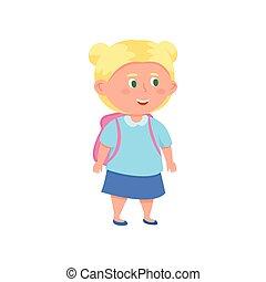 Cute smiling blonde hair school girl with green eyes