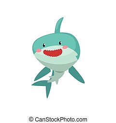 Cute smiling blue shark cartoon character vector Illustration on a white background