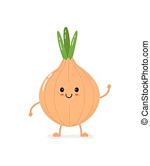 Cute smiling bow onion character