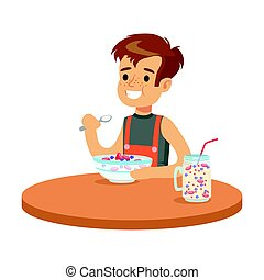 Cute smiling boy having breakfast in the kitchen, colorful character vector Illustration