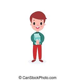 Cute smiling boy holding cardboard box of milk, healthy food for kid cartoon vector illustration