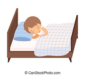 Cute Smiling Boy Sleeping in His Bed under Blanket Vector Illustration