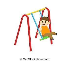 Cute smiling boy swinging on a swing. Cartoon flat vector illustration, isolated on white background.