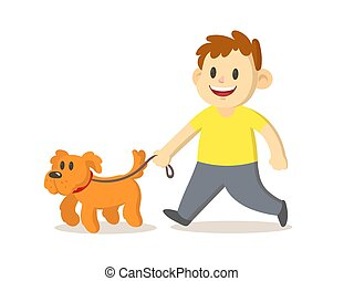 Cute smiling boy walking with dog. Flat vector illustration, isolated on white background.