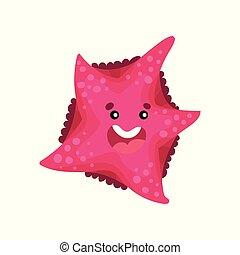 Cute smiling cartoon starfish character, invertebrate sea animal cartoon vector Illustration