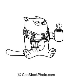 cute smiling cat in scarf with cup of hot beverage, traditional medicine against flu, vector illustration with black ink contour lines isolated on a white background in a cartoon & hand drawn style