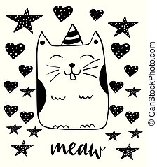 Cute smiling cat. Kitty vector illustration. Hand drawn doodle style.