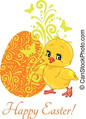 Cute smiling chick and Easter egg. Design for Easter card
