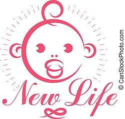 Cute smiling child face vector emblem. Innocent tiny ...