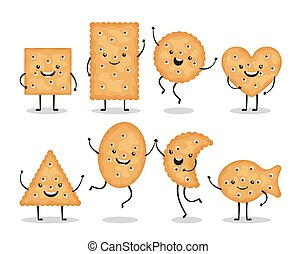 Cute smiling cracker chips different shapes isolated on white background. Happy biscuit cookies characters, doodle snack - vector illustration