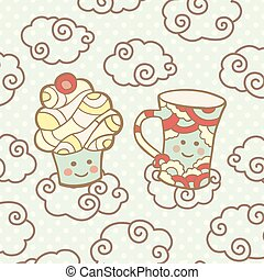 Cute smiling cupcake and cup on clouds.