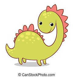 Cute smiling dinosaur on a white background.