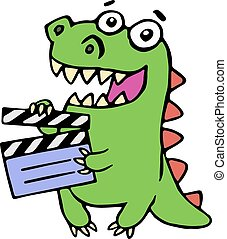 Cute smiling dinosaur with movie clapper board