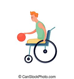 Cute smiling disabled boy in wheelchair play basketball