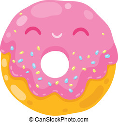 cute smiling donut. cartoon food illustration