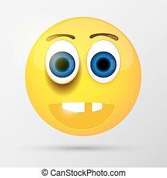 Cute smiling emoticon, emoji, smiley.