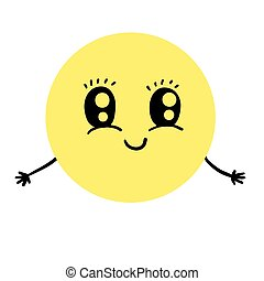 Cute smiling emoticon offering hugs, vector character