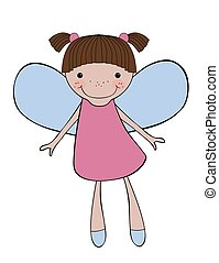 Cute smiling fairy isolated on white