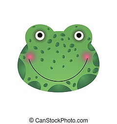 Cute Smiling Frog Face, Baby Animal Head Vector Illustration