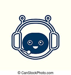 Cute smiling funny robot chat bot face