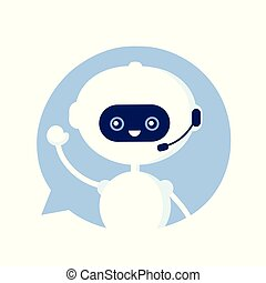 Cute smiling funny robot, chat bot