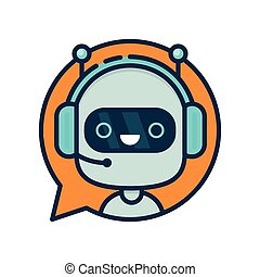Cute smiling funny robot chat bot in speech bubble. Vector ...