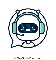 Cute smiling funny robot chat bot in speech bubble. Vector modern flat cartoon character illustration. Isolated on white background. Voice support service chat bot, virtual online help customer support