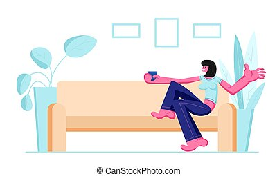 Cute Smiling Girl Sitting on Cozy Sofa Drinking Coffee or Tea at Home Domestic Interior Female Character Having Leisure, Sparetime, Relaxing or Chatting with Friend Cartoon Flat Vector Illustration