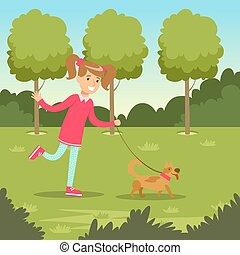 Cute smiling girl walking with her dog in the park, kids outdoor activity vector illustration