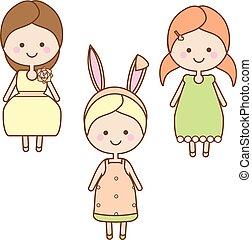 Cute smiling girls characters. Sweet cartoon little kids in summer dresses