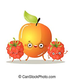 Cute smiling golden apple character with raspberries friends