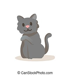 Cute smiling gray kitten cartoon character. Flat vector illustration, isolated on white background.